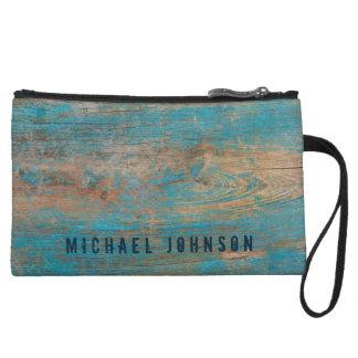 Personalized Weathered Blue Peeling Paint Wood Wristlet