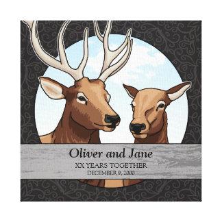 Personalized Wedding Anniversary, Elk Pair Canvas Print