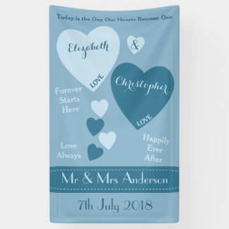 Personalized Wedding Backdrop Blue Banner