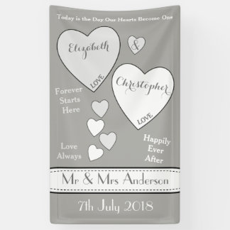 Personalized Wedding Backdrop Gray Banner