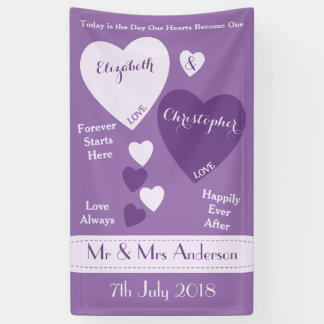 Personalized Wedding Backdrop Purple and Lilac Banner