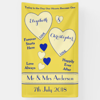 Personalized Wedding Backdrop Yellow Banner