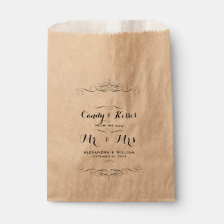 Personalized Wedding Candy Bar Buffet or Popcorn Favour Bags