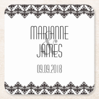 Personalized Wedding Coaster Black White 2 Damask Square Paper Coaster