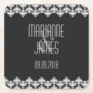 Personalized Wedding Coaster Black White Damask Square Paper Coaster