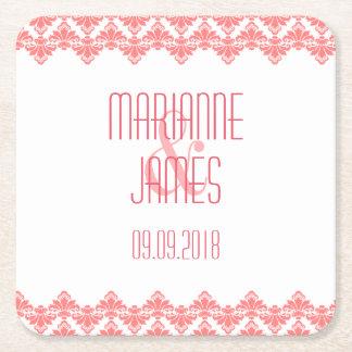 Personalized Wedding Coaster Blush 2 Damask Square Paper Coaster