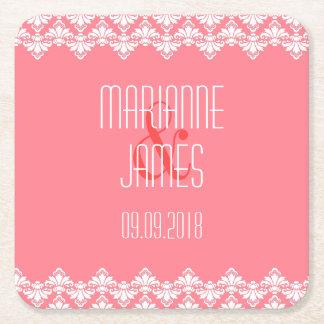 Personalized Wedding Coaster Blush Damask Square Paper Coaster