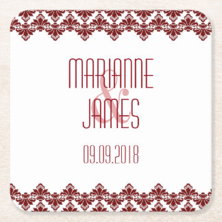 Personalized Wedding Coaster Burgundy 2 Damask Square Paper Coaster