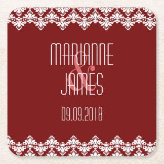 Personalized Wedding Coaster Burgundy Damask Square Paper Coaster