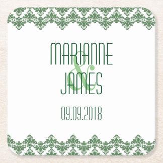 Personalized Wedding Coaster Dark Green 2 Damask Square Paper Coaster