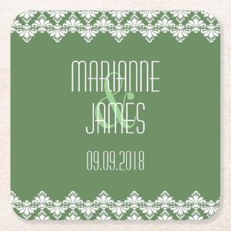 Personalized Wedding Coaster Dark Green Damask Square Paper Coaster