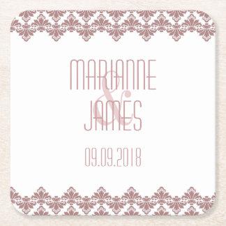 Personalized Wedding Coaster Dark Mauve 2 Damask Square Paper Coaster