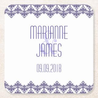 Personalized Wedding Coaster Dark Purple 2 Damask Square Paper Coaster