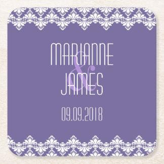 Personalized Wedding Coaster Dark Purple Damask Square Paper Coaster