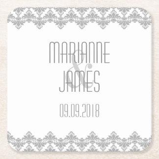 Personalized Wedding Coaster Gray 2 Damask