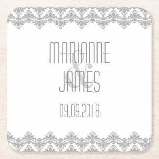 Personalized Wedding Coaster Gray 2 Damask Square Paper Coaster