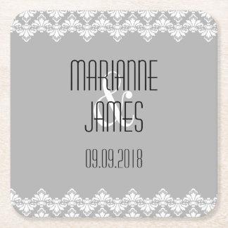 Personalized Wedding Coaster Gray Damask Square Paper Coaster