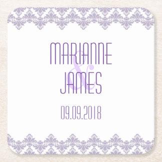 Personalized Wedding Coaster Lilac Purple 2 Damask Square Paper Coaster