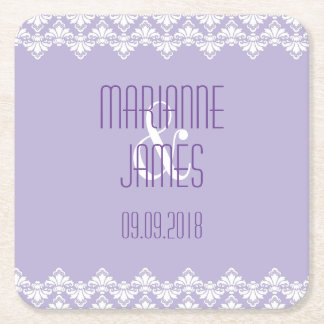 Personalized Wedding Coaster Lilac Purple Damask Square Paper Coaster