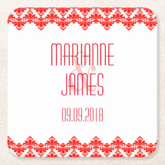 Personalized Wedding Coaster Red 2 Damask Square Paper Coaster