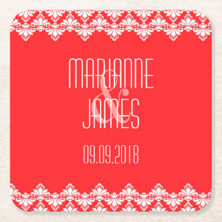 Personalized Wedding Coaster Red Damask Square Paper Coaster