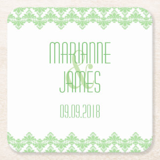 Personalized Wedding Coaster Spring Green 2 Damask Square Paper Coaster