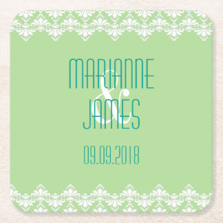 Personalized Wedding Coaster Spring Green Damask