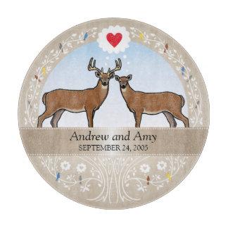 Personalized Wedding Date Anniversary, Buck & Doe Cutting Board