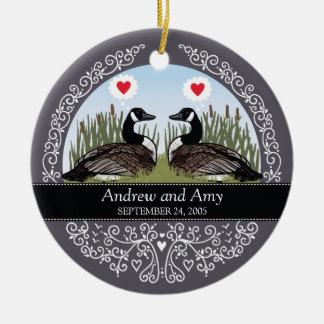 Personalized Wedding Date Anniversary, Geese Christmas Ornament