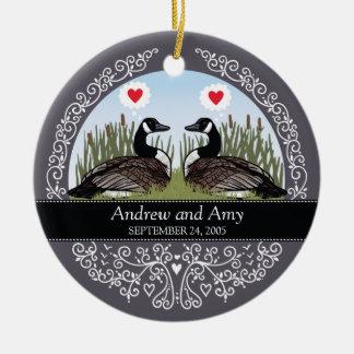 Personalized Wedding Date Anniversary, Geese Round Ceramic Decoration