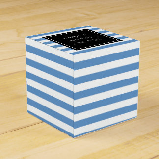 Personalized wedding favor box | blue white stripe