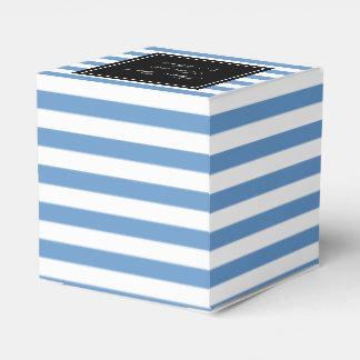 Personalized wedding favor box | blue white stripe favour box