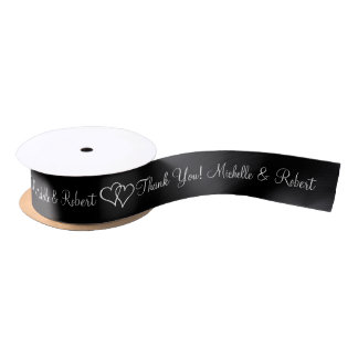 Personalized wedding favor ribbon with cute hearts satin ribbon