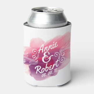 Personalized Wedding Gift Watercolor | Can Cooler