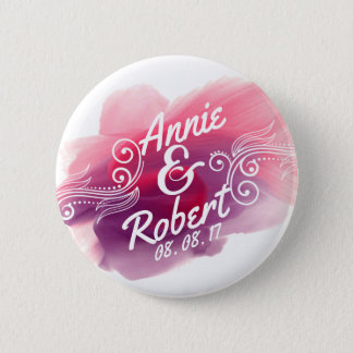 Personalized Wedding Gift Watercolor | Pin Button
