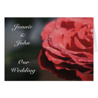 personalized Wedding Invitation, big red dewy rose Greeting Card
