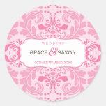 PERSONALIZED WEDDING LABEL :: savvy 5 Round Stickers