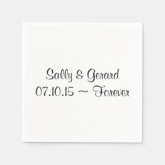 Personalized Wedding Napkin White Back Black Text Disposable Serviettes
