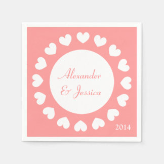 Personalized wedding napkins | coral with hearts disposable serviette