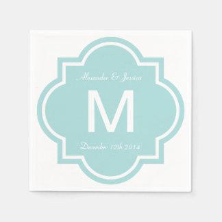 Personalized wedding napkins | Teal quatrefoil Disposable Serviette