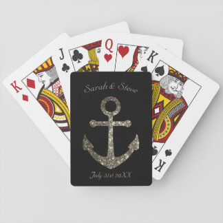Personalized Wedding Nautical Glitter Anchor Favor Playing Cards