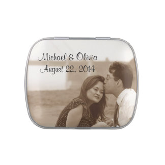 Personalized Wedding Photo Candy Favors Tin Candy Tin