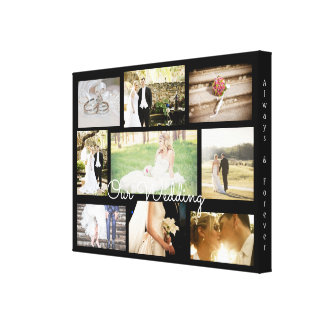 Personalized Wedding Photo Collage Wall Art Black