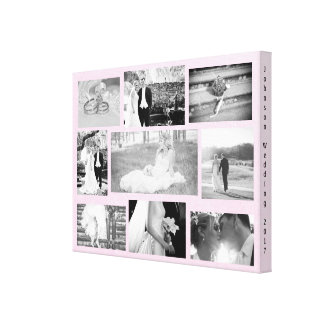 Personalized Wedding Photo Collage Wall Art Pink