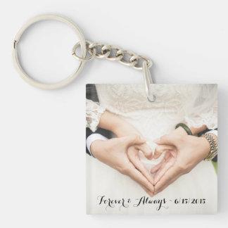 Personalized Wedding Photo Forever & Always Single-Sided Square Acrylic Key Ring