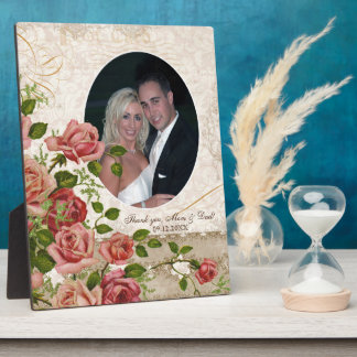 Personalized Wedding Photo Trellis Rose Vintage Plaque