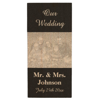 Personalized wedding photo wooden USB memory stick
