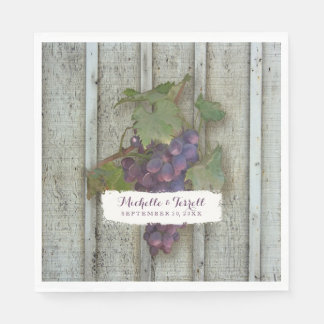 Personalized Wedding Reception Vineyard Grapes Paper Napkins