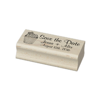 Personalized Wedding Save the Date Cupcake Stamps