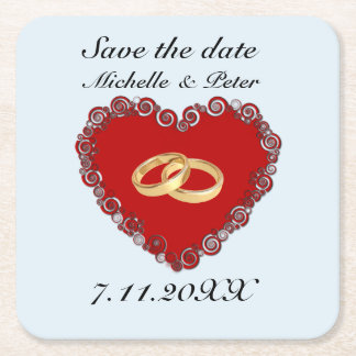 """Personalized Wedding """"Save The Date"""" Square Paper Coaster"""